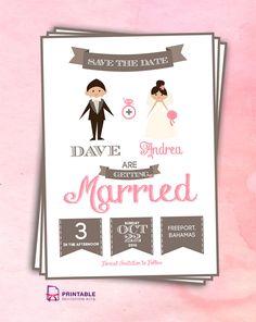 Save the Date Cartoon Couple. For customizations, printableinvitationkits[at]gmail[dot]com.