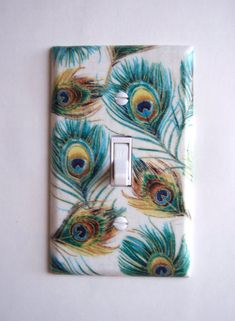Peacock Feather Single Toggle Switchplate by PopGoesTheColor