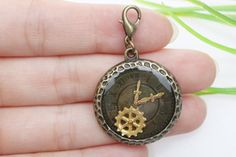Own Charm ~28mm Drip Accessories Antique Bronze Lovely Gear Charm Pendant