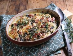 Festive Ham, Cheese & Greens Gratin Recipe   Abel & Cole Christmas Ham, Christmas Things, Christmas Ideas, Abel And Cole, Coles Recipe, Veg Patch, Ham And Cheese, Healthy Eating Recipes, Casserole