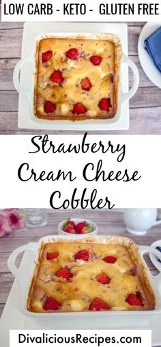 An easy and sweet keto dessert with this strawberry cream cheese cobbler. Made with almond flour it is low carb & gluten free too! An easy strawberry recipe with cream cheese for a tasty low carb & gluten free dessert Desserts Keto, Cream Cheese Desserts, Keto Friendly Desserts, Cream Cheese Recipes, Gluten Free Desserts, Easy Desserts, Dessert Recipes, Easter Recipes, Keto Cheese