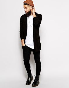 This cardigan is Longlined black and perfect for layering ideas. This will be ideal for the autumn guys! #menswear #style #asos_kieron | Raddest Men's Fashion Looks On The Internet: http://www.raddestlooks.org