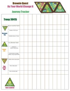Brownie Quest Journey Tracker Page Girl Scout Swap, Girl Scout Leader, Girl Scout Troop, Cub Scouts, Wow Journey, Journey Girls, Girl Scout Brownie Badges, Brownie Girl Scouts, Girl Scout Daisy Activities