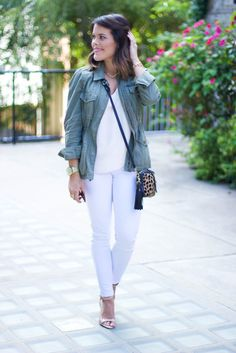 Fall fashion, white jeans, J. Crew utility jacket