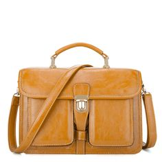 Brown Album Of Youth Series Oil Leather Handbag
