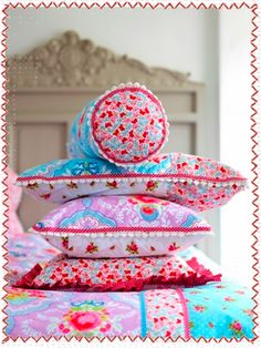 Pip Studio is cottage perfect! Love their cottage inspired things and FUN colors! Cute for a girls room too :) Pip Studio, Bed Pillows, Cushions, Sewing Pillows, Cozy Cottage, Colour Schemes, Color Combinations, Girls Bedroom, Bedrooms