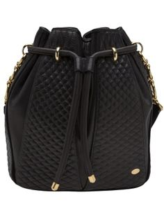 """Black smooth leather shoulder bag from Bally featuring a top drawstring fastening, shoulder strap with gold-tone circle linked connector accents, quilted stitch design throughout, and one main internal compartment with one zip fastening pocket. Measures approx. 10"""" L x 9"""" W x 5.5"""" D. Please note that vintage items are not new and therefore might have minor imperfections.  by farfetch"""
