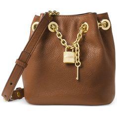 Michael Michael Kors Hadley Medium Messenger ($103) ❤ liked on Polyvore featuring bags, messenger bags, luggage, bucket bag, brown messenger bag, brown bag, michael kors bags and brown bucket bag