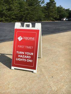 Osborne First Baptist Church (Eden NC) uses sidewalk signs in the parking lot to instruct first time guest to turn on hazard light. Identifying guests is just the first step in hospitality.