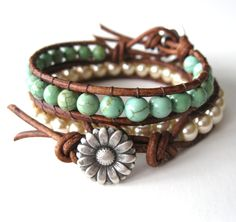 On A Whim - Set of Two Wrap Bracelets - Beaded Leather Wrap Bracelets - Friendship Bracelet. $48.00, via Etsy.  Oooooo, I like this!