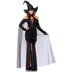 Sexy Sultry Sorceress Costume for Women ($60) ❤ liked on Polyvore featuring costumes, halloween costumes, multicolor, witch costume, womens costumes, black widow womens costume, sexy womens halloween costumes and ladies costumes