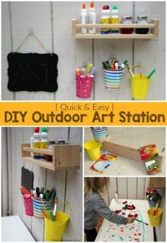 DIY Outdoor Art Station for Kids! A simple ways to take art projects and process are outside this summer!