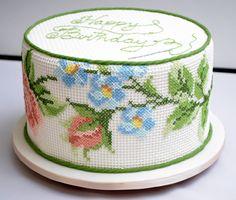 cross stitch fondant cake - Buscar con Google