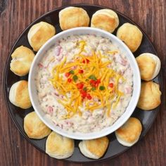 A Very Southern Dip: Crumbled breakfast sausage, cream cheese, roasted peppers, hot sauce and mini biscuits for dipping \\ +