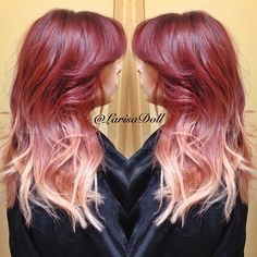 Vibrant red base ombred to silver ends