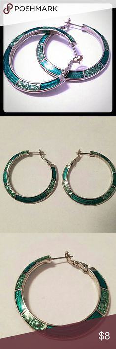 Turquoise/  Silver Earrings Decorative earrings.  Turquoise patterns with silver accents. Jewelry Earrings