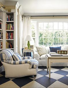 Bright White + Blues. Drapery, Norbar Fabrics. Chair, Ralph Lauren Home. Chair Upholstery, Ralph Lauren Home, Brunschwig + Fils. Pillows, Lee Jofa.