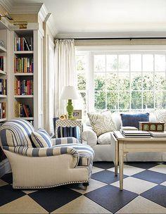 Bright White + Blues. Drapery, Norbar Fabrics. Chair, Ralph Lauren Home. Chair Upholstery, Ralph Lauren Home, Brunschwig + Fils. Pillows, Lee Jofa.