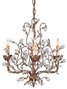 While sparkling crystal buds dance among the foliage, meandering vines of Cupertino-finished wrought iron climb the lovely free form Crystal Bud Chandelier. Thi