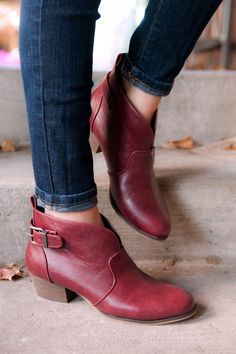 After wanting these for over a year, they are finally on their way to me! Hopefully they fit...  Abby Ankle Booties in Burgundy by Chelsea Crew online - Minx - Clothe, Adorn, Empower, Provide