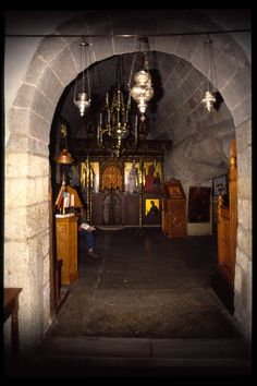 Entrance of the Cave of Apocalypse, Patmos Greece. The cave where St. John lived during exile and wrote the Book of Revelation.