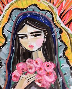 Modern Mary PRINT Portrait, Virgin de Guadalupe, print on paper or canvas by DevinePaintings on Etsy Virgin Mary Painting, Virgin Mary Art, Frida Art, Large Canvas Prints, Art Original, Paint Party, Bunt, Illustration Art, Drawings