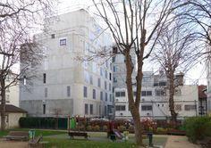 Logements étudiants et crèche   Paris 20 - chantier Construction, Street View, Mansions, House Styles, Home Decor, Outdoor Areas, Building, Decoration Home