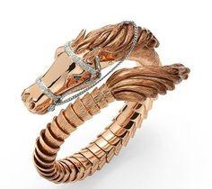 horse bit charm  gold bracelet ebay | Roberto Coin 18 karat gold and diamond flexible horse head bangle ...