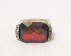 Retro Vintage Sterling Silver Faceted Garnet & Marcasite Square Ring Size 7.5