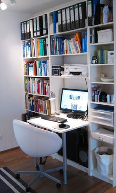 Materials: Billy bookshelf, board (76x75cm), 2 table-legs (Vika Kaj), screws, 4 screwing angles, edge tape   Description: 1. Fix up Billy without the back
