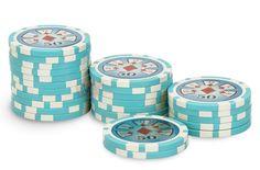 Rouleau de 25 jetons Laser Deluxe 50 - Pokeo.fr - Rouleau de 25 jetons de poker Laser Deluxe 50 bleu clair en PP stické 11,5g pour joueurs débutants.
