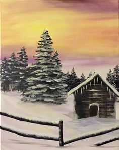 Join us for a Paint Nite event Sun May 2014 at 19950 Hesperian Blvd. Purchase your tickets online to reserve a fun night out! Simple Acrylic Paintings, Easy Paintings, Acrylic Art, Beautiful Paintings, Landscape Paintings, Landscapes, Winter Painting, Bob Ross, Christmas Paintings