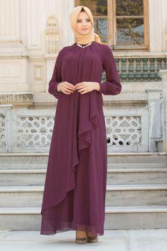 NEVA STYLE - PLUM COLOR HIJAB EVENING DRESS 52547MU Hijab Evening Dress, Hijab Dress, Dress Outfits, Evening Dresses, Abaya Fashion, Muslim Fashion, Modest Fashion, Fashion Dresses, Estilo Abaya
