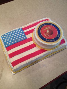 Marine corps cake marine cake and cake toppers on pinterest for American flag cake decoration