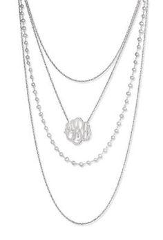 multistrand necklace w/hand-cut monogram pendant $310