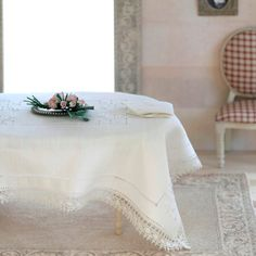 Luxury hand embroidered linen tablecloth with 6 matching sets napkins. Dollhouse lignerie , miniatures, scale 1:12.