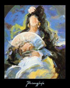 """Ruizanglada (1929-2001) - Manola en azul. 61x50cm. 1996.  Ruizanglada fue alabado por los críticos entre otros aspectos por su manejo de """"los blancos"""" como una maestría difícil de ... más información en Facebook => https://www.facebook.com/ruizanglada.pintura/"""