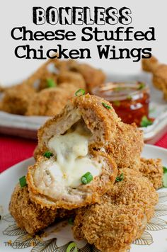 Boneless Cheese Stuffed Chicken Wings - These are no ordinary Chicken Wings! These are boneless Chicken wings STUFFED with gooey melted cheese AND Pork (or chicken)! These Boneless Cheese Stuffed Chicken wings are indescribable and absolutely delicious! Chicken Starter Recipes, Chicken Pasta Recipes, Lunch Recipes, Appetizer Recipes, Cooking Recipes, Appetizers, Party Recipes, Cooking Ideas, Boneless Chicken Wings
