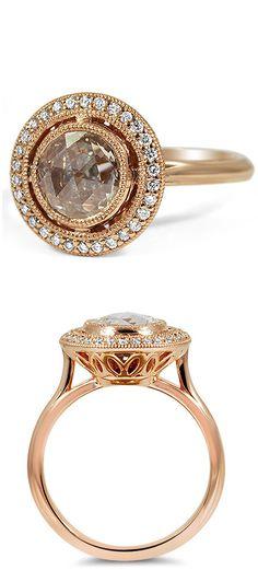 Rose cut halo diamond ring