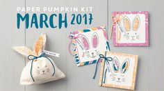 """VIDEO 2017  March  Paper Pumpkin   Our Paper Pumpkin Bunny Buddies are bursting onto the scene just in time for spring! Every March kit comes with nine bunny cards and bags. Watch their personalities emerge as you customize each one with a face, ears, accessories, and a pompom cottontail. They are simply """"ear""""-resistible!"""