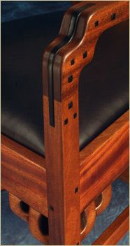 Greene and Greene Chair Detail with ebony plugs and spline