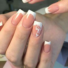 French Manicure Designs, White Nail Designs, Beautiful Nail Designs, Nail Art Designs, Nails Design, Prom Nails, Bling Nails, Bridal Nails, Wedding Nails