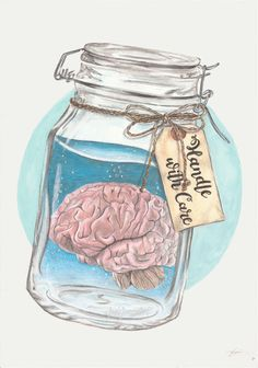 'Handle With Care' Conceptual painting created by JadeJonesArt using watercolours, ink and prismacolor pencils. www.etsy.com/uk/shop/JadeJonesArt Tags: jar, mason jar, brain, tattoo, tag, twine, circle, mental, health, illness, art, artist, instaart, drawing, jadejonesart