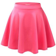MBJ Womens Basic Versatile Strechy Flared Skater Skirt ($6.89) ❤ liked on Polyvore featuring skirts, bottoms, faldas, jupes, pink skater skirt, skater skirt, pink skirt, flared hem skirt and flare skirt