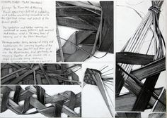 great layout and cropping of photocopies of weaving exploring tonal value, texture, line and composition - sketchbook page