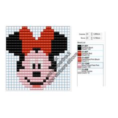 Disney Minnie Mouse Face Free Hama Beads Pyssla Pattern For Children 24 X 24 5 Colors - Free Perler Beads Patterns Fuse Beads Hama Beads - Diy Crafts - hadido Hama Beads Patterns, Peyote Patterns, Weaving Patterns, Cross Stitch Patterns, Cross Stitch For Kids, Cross Stitch Cards, Cross Stitching, Mickey Mouse, Fuse Beads