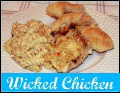 Wicked Chicken:                                                       Ingredients  4 skinless boneless chicken breasts 1/2 box any shaped pasta 1 jar Classico Pablaneo Alfredo sauce (or regular Alfredo sauce and 1 4oz can of green chiles) salt, pepper, garlic powder, red pepper flakes to taste