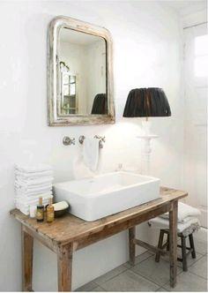 old table turned sink top bathroom