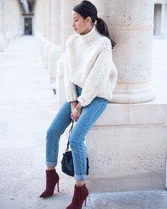 alexcloset: oversized cream sweater blue jeans and red velvet pointed booties