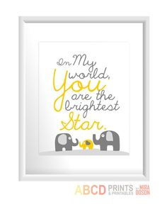 "Nursery art quote print ""In my world, you are the brightest star."" with elephants family 8x10 CUSTOM COLORS"